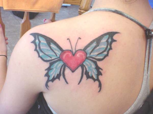 Butterfly tattoo with heart