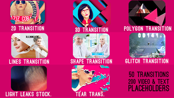 50 Transitions with 200 Video Text Placeholders
