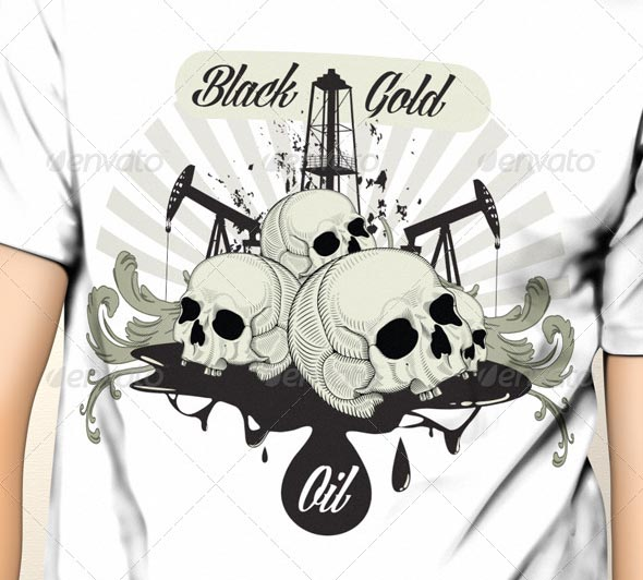 Black Gold Oil T-Shirt Template Design