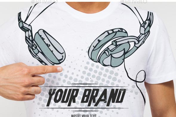 Dj Headphones T-Shirt Vector Illustration Template