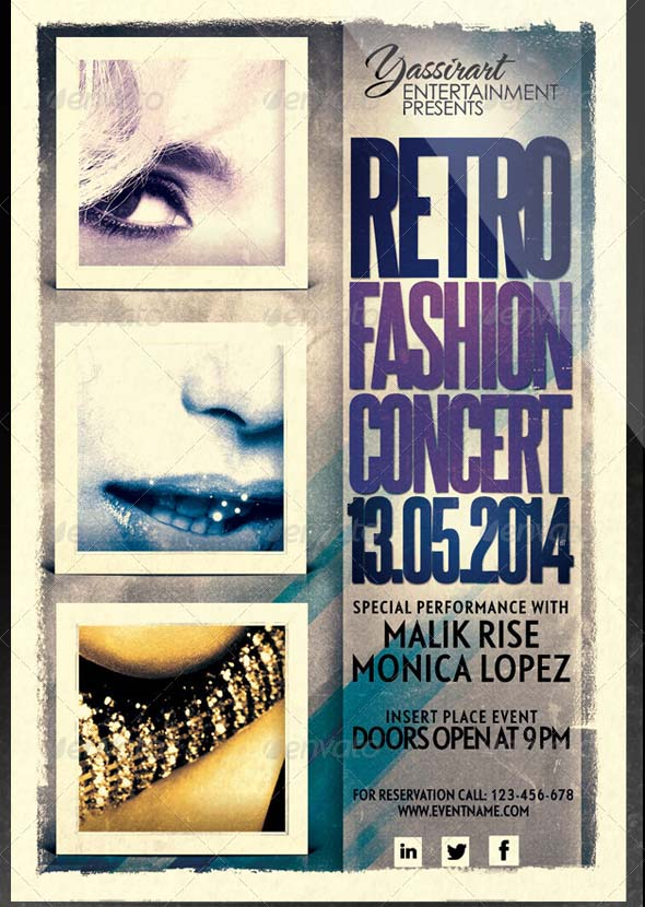 Retro Fashion Concert Flyer Template
