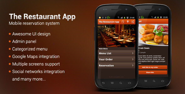 Useful android source codes for building restaurant app