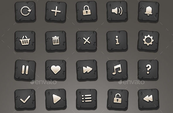 24 Stone Game Icons