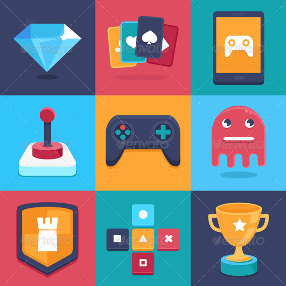 Online and Mobile Game Icons and Signs