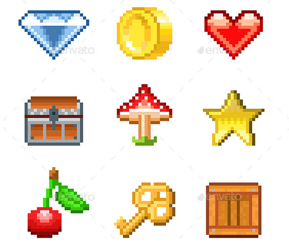 Pixel Objects for Games Icons