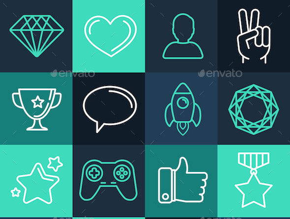 Set of Line Game Icons