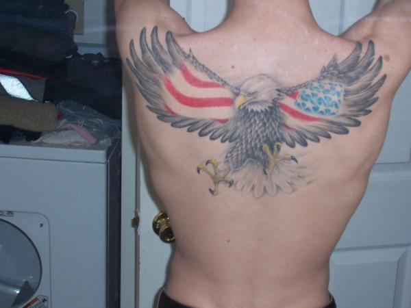 American Flag Tattoo with Hawk