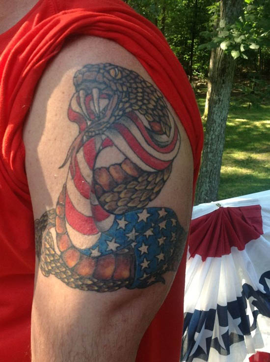 American Flag with snake Tattoo