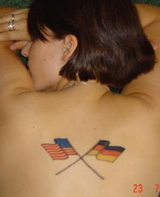 American & Germany Flag Tattoo