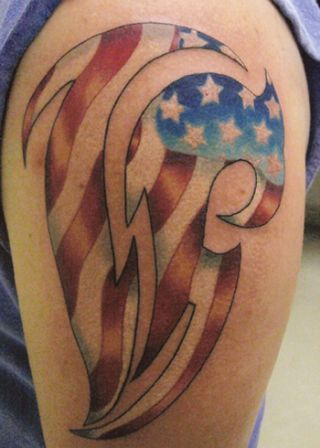 American Tribal Flag Tattoo On Shoulder