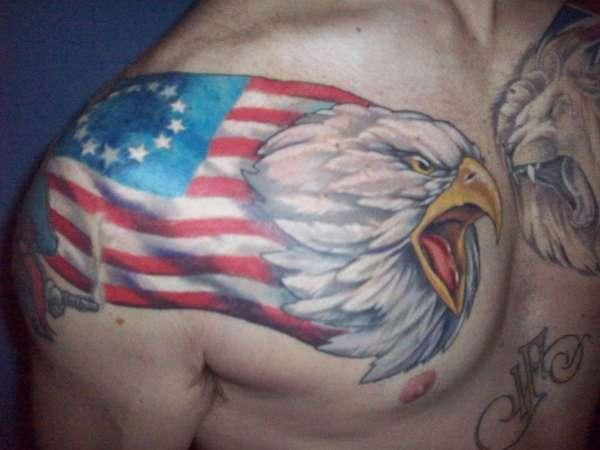 American flag with the Eagle head tattoo