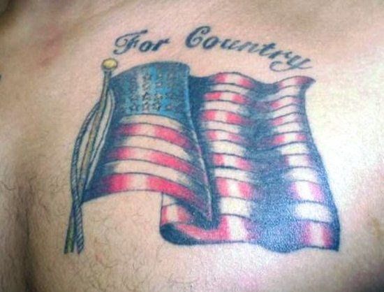 American waving Flag Tattoo On Chest