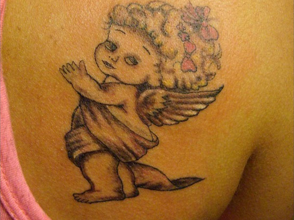 Angel Baby With Bow Tattoo