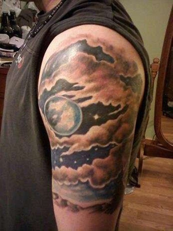 Arm cloud tattoo