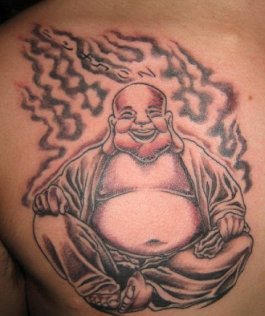 Awesome Buddhist Tattoos Buddhist Laughing Tattoo on Chest