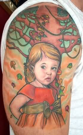 Baby Girl Tattoo On Shoulder