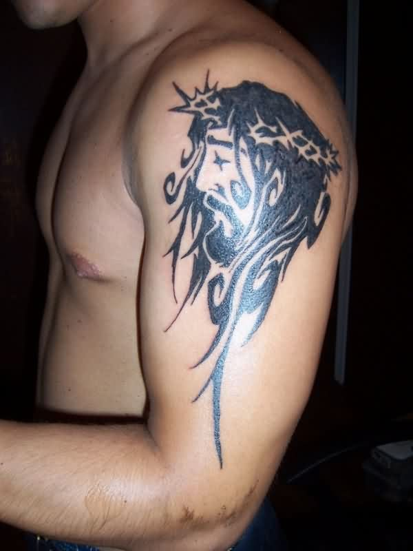 Barbed Tribal Jesus Head Tattoo