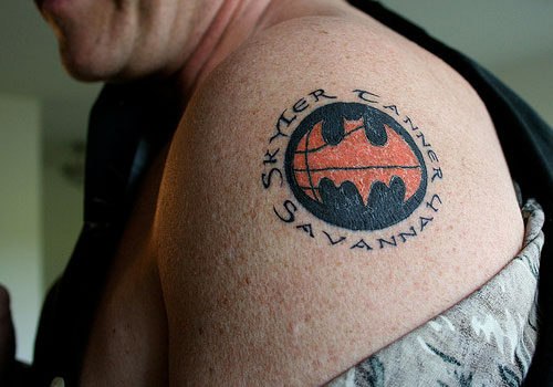 Basketball with Batman symbol Tattoo
