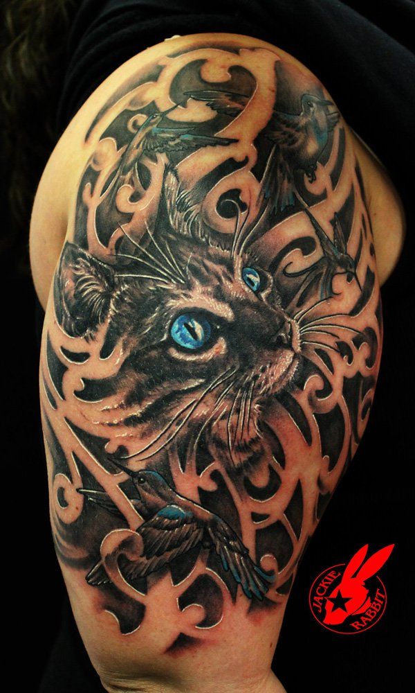 Blue Eye Cat and Bird Tattoo by Jackie Rabbit