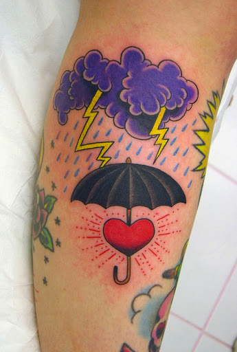 Cloud & lightning tattoo