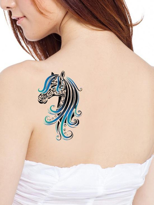 Colorful Horse Face Tattoo