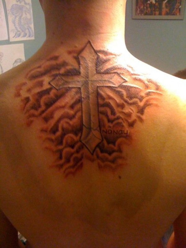 Cross With Cloud Shading tattoo