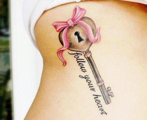 Cute heart key tattoo
