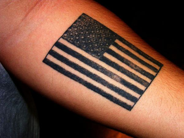 Dark American Flag tattoo