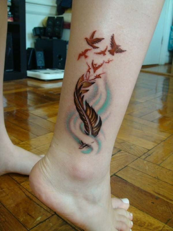 Feather & Flying Bird Tattoo