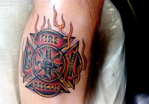 Fire Rescue Firefighter Tattoo