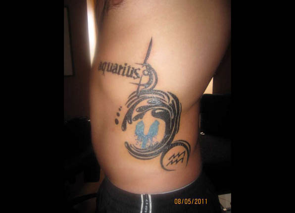 Great Aquarius Tattoo On Rib