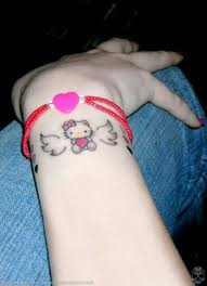 Hello Kitty with Wing Tattoo on Arm