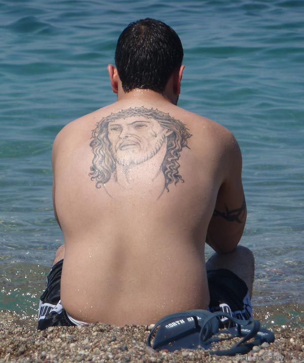 Jesus Head Tattoo On Back