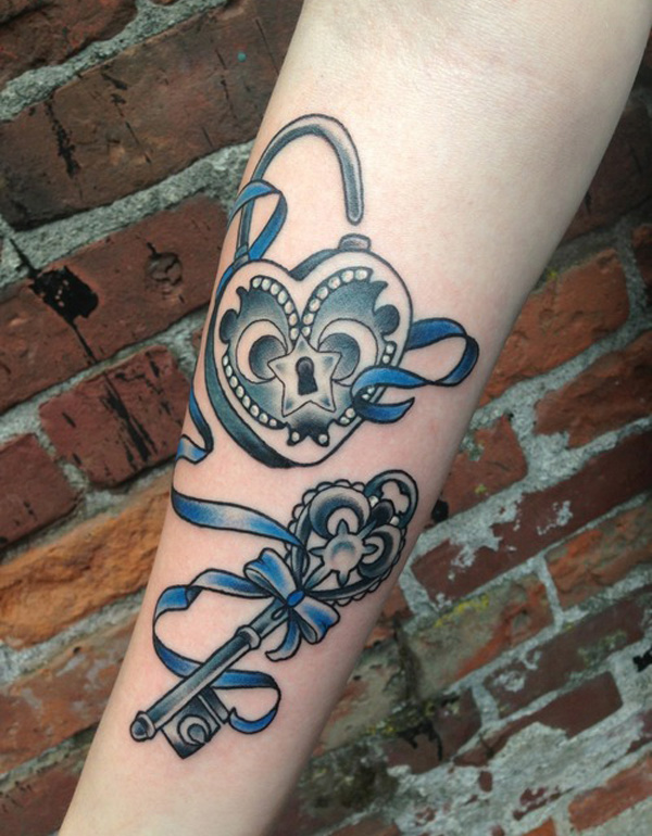 Lock and key forearm tattoo