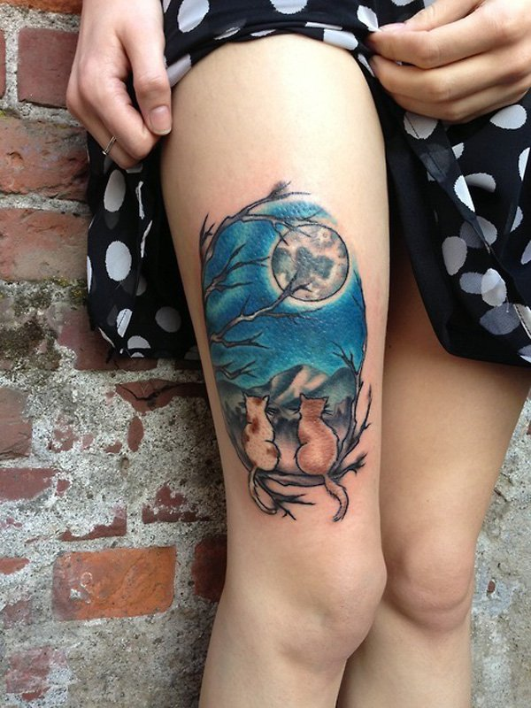 Moon Cats Thigh Tattoo