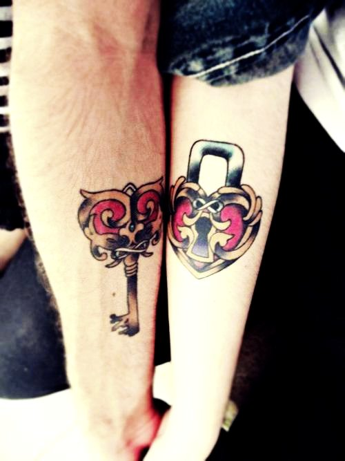 Ornamental key tattoo idea