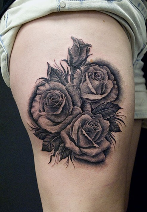 Rose Tattoo black and grey Thigh