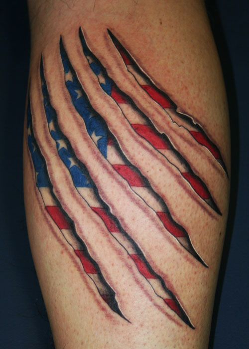 Skin Rips American Flag Tattoo Design