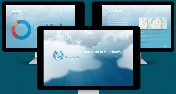 SkyBlue PowerPoint Template with Unique Animation