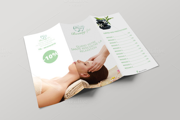 17 cool spa brochure templates psd indesign desiznworld for Salon brochure templates