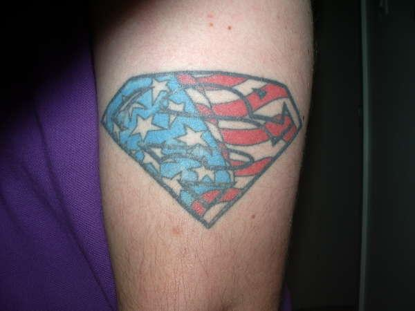 Superman logo & American flag colors tattoo