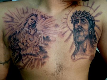 Virgin Mary & Jesus Tattoo On Chest