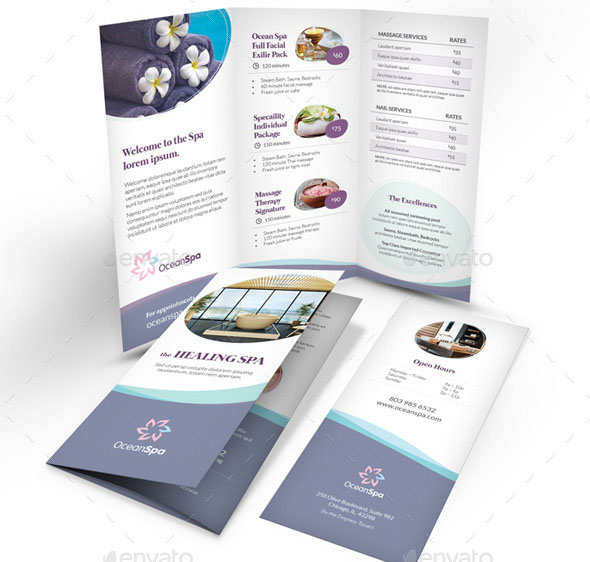 Cool Spa Brochure Templates Psd Indesign  Desiznworld