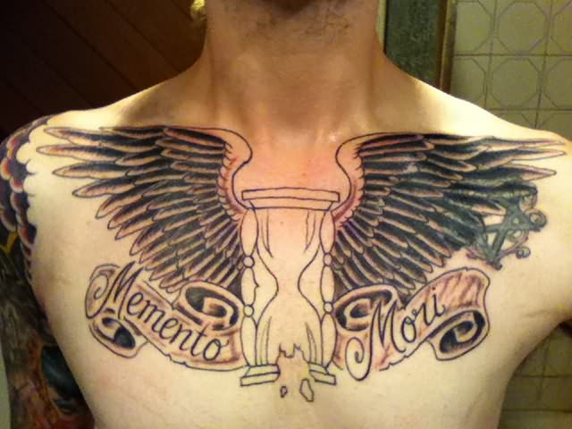 Winged Hourglass Grey Ink Tattoo On Chest