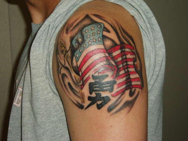 american swirling flag tattoo