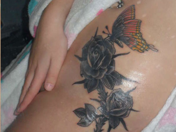 black roses & butterfly Tattoo