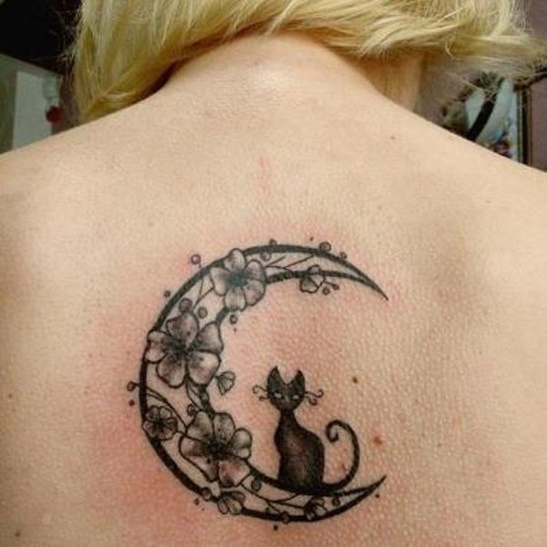 cat and moon tattoo