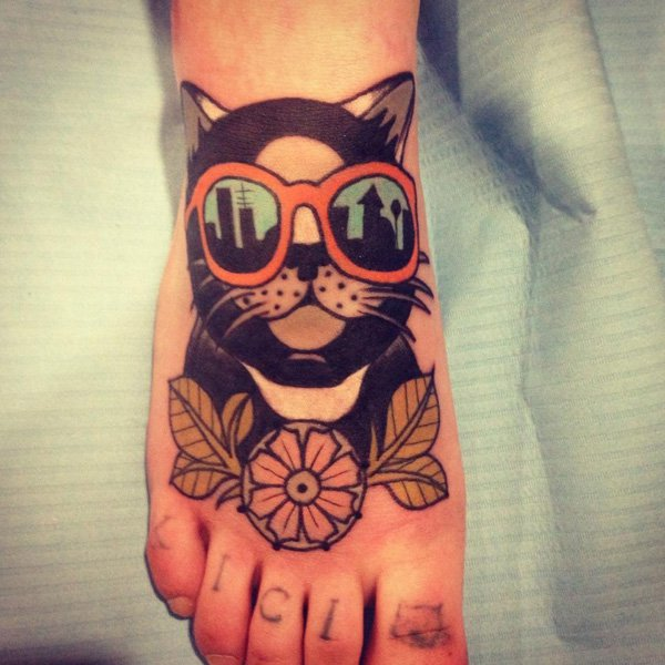 cat with glasses tattoo