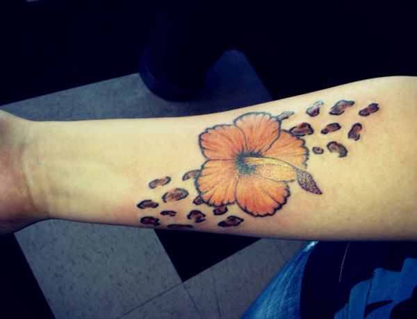 cheetah print flower tattoo