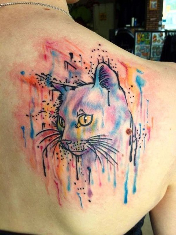 chic cat watercolor tattoo on upper back for girls